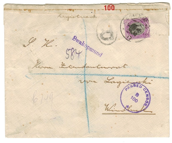 SOUTH WEST AFRICA - 1917 censor cover to Windhuk used at SWAKOPMUND.