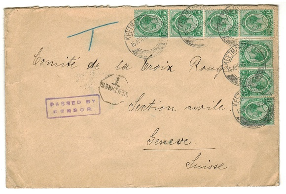 SOUTH WEST AFRICA - 1916 censor cover to Switzerland used at KEETMANSHOOP.