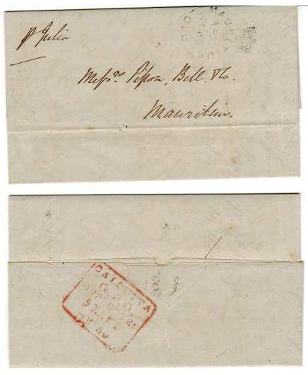 MAURITIUS - 1850 inward stampless entire from India with crowned MAURITIUS/GPO arrival h/s.