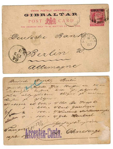 MOROCCO AGENCIES - 1887 1d St.Vincent PSC overprinted GIBRALTAR used at TANGIER. H&G 2a.