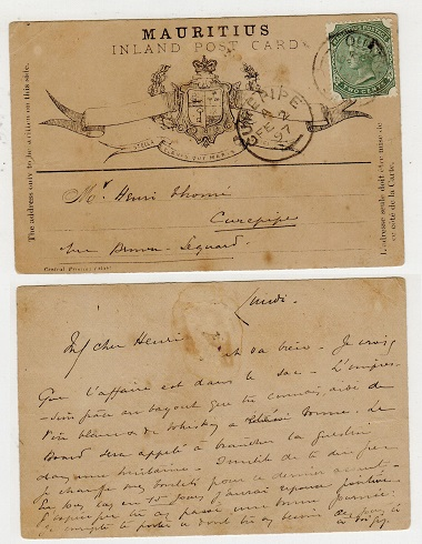 MAURITIUS - 1895 FORMULA postcard use with 2c added from CUREPIPE.  H&G 3.