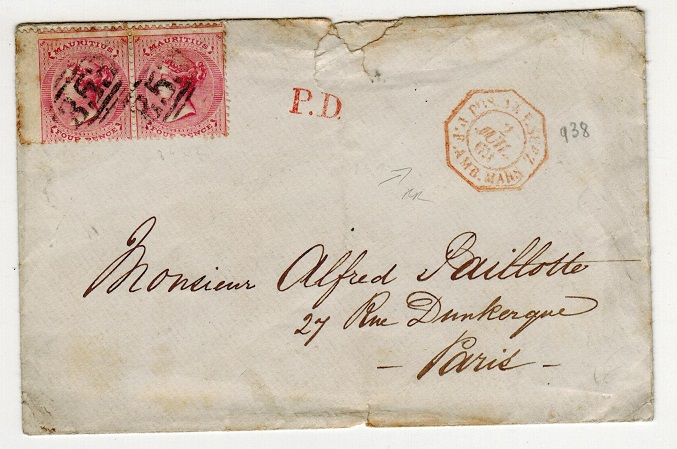 MAURITIUS - 1869 8d rate cover to France.