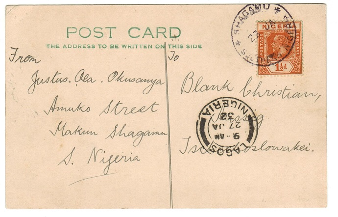 NIGERIA - 1932 1 1/2d rate postcard use to Czechoslovakia (scarce) from SHAGAMU.