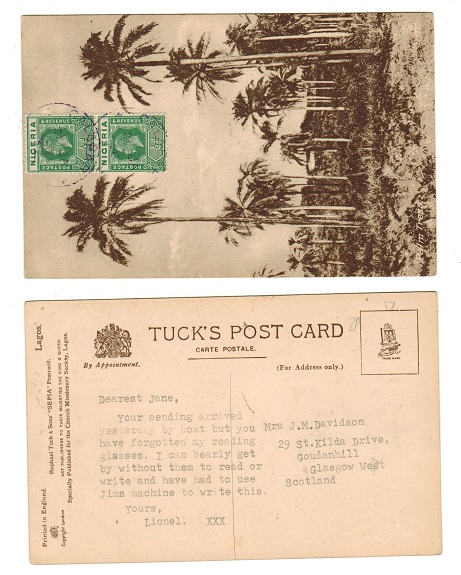 NIGERIA - 1928 1d rate postcard use to UK from CALABAR with