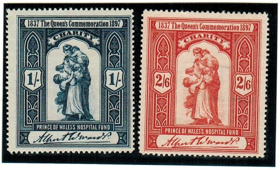 GREAT BRITAIN - 1897 1/- and 2/6d PRINCE OF WALES HOSPITAL FUND charity labels mint.