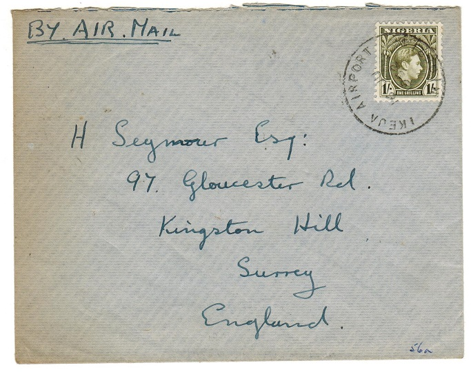 NIGERIA - 1952 1/- rate cover to UK used at IKEJA AIRPORT.