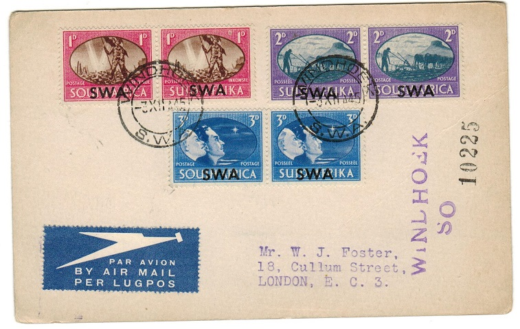 SOUTH WEST AFRICA - 1945 victory set on postcard to UK with 1d showing BARBED WIRE variety.