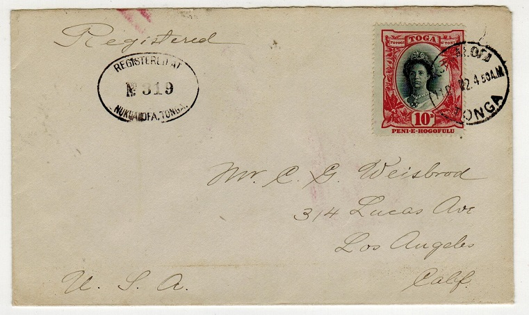 TONGA - 1924 10d registered cover to USA used at NUKUALOFA.
