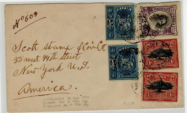 TONGA - 1924 5d rate cover to USA used at NUKUALOFA.