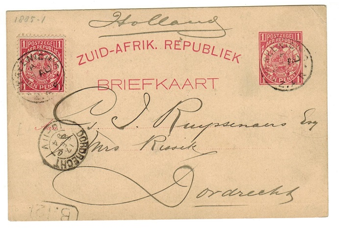TRANSVAAL - 1885 1d PSC uprated to Holland from VEREENIGING.  H&G 1.