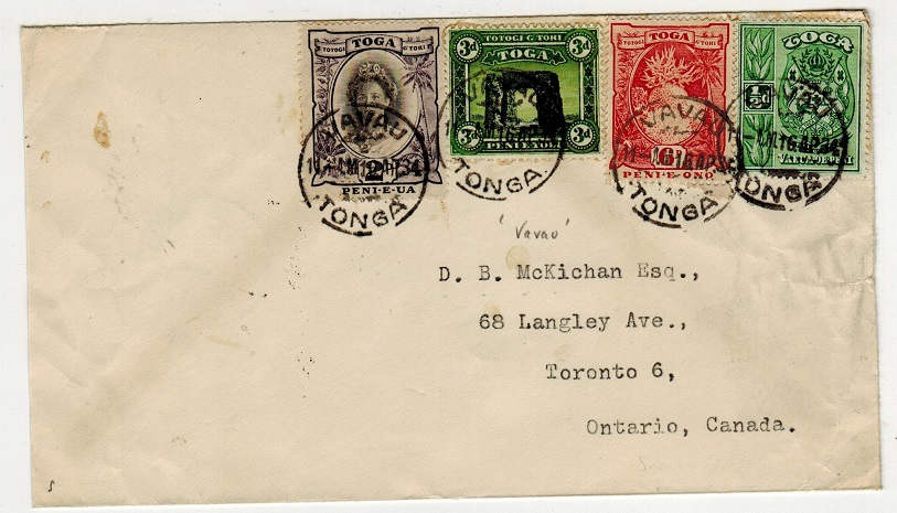 TONGA - 1934 multi franked cover to Canada used at VAVAU.