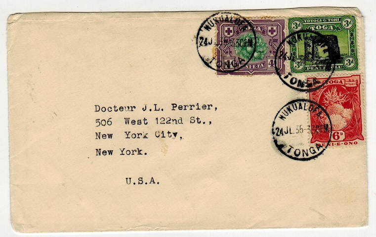 TONGA - 1935 multi franked cover to USA used at NULUALOFA.