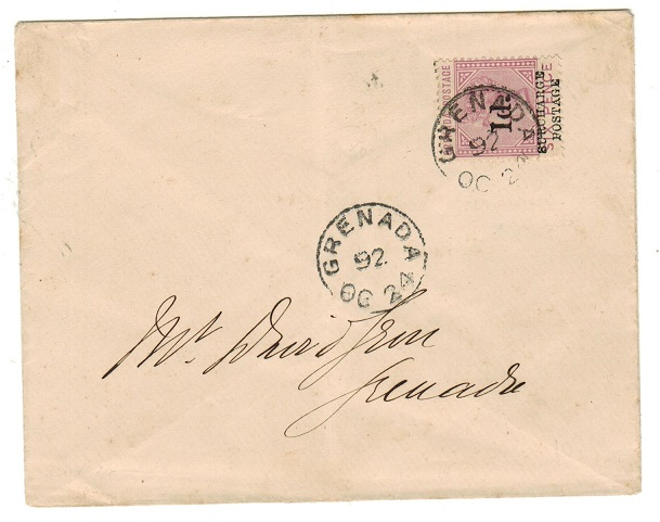 GRENADA - 1892 local cover with 1d on 6d