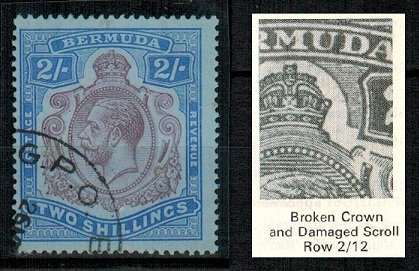 BERMUDA - 1920 2/- purple and blue/blue used with BROKEN CROWN AND SCROLL variety.  SG 51bb.