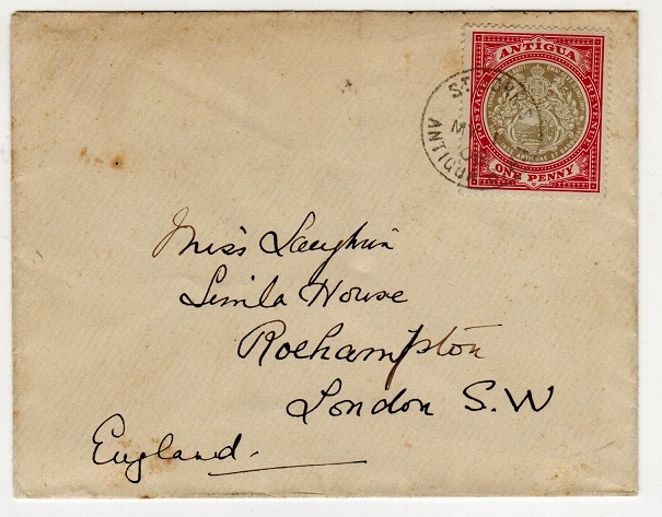 ANTIGUA - 1908 1d rate cover to UK used at ST.JOHN