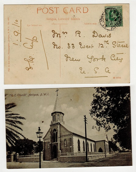 ANTIGUA - 1910 1/2d rate postcard use to USA used at ST.JOHN