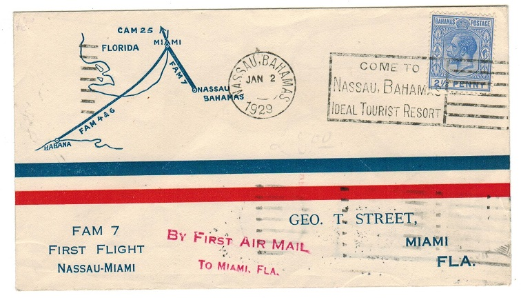 BAHAMAS - 1929 first flight cover to USA by FAM 7.