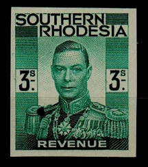 SOUTHERN RHODESIA - 1937 3/- IMPERFORATE PLATE PROOF revenue printed in green.