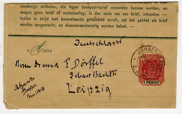 TRANSVAAL - 1899 1d postal stationery wrapper addressed to Germany used at JOHANNESBURG.  H&G 2.