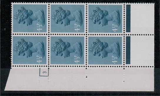 GREAT BRITAIN - 1973 4 1/2p grey-blue U/M cyl 3 block of 6 with PERFORATION ERROR.