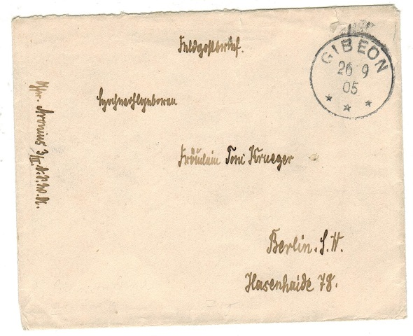 SOUTH WEST AFRICA (German) - 1905 military stampless cover to Germany used at GIBEON.