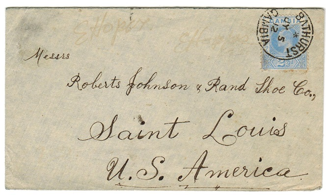 GAMBIA - 1912 2 1/2d rate cover to USA.