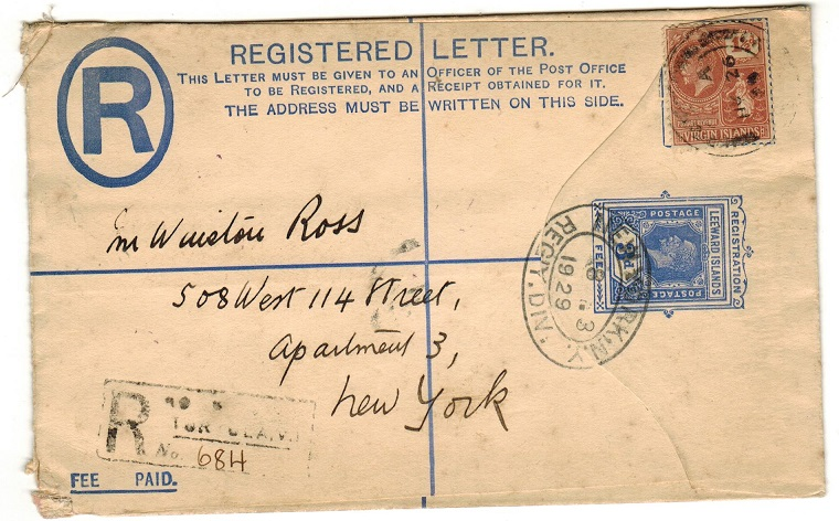 BRITISH VIRGIN ISLANDS - 1926 2d blue RPSE of Leeward Islands used at ROAD TOWN.  H&G 4a.