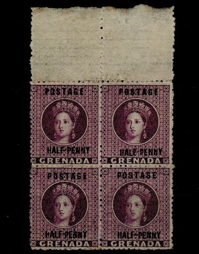 GRENADA - 1881 1/2d deep mauve mint block of four.  SG 21.
