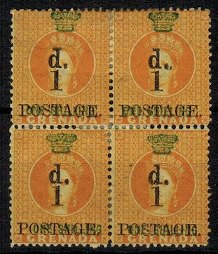 GRENADA - 1883 1d on 1/- orange surcharge mint block of four.  SG 38.