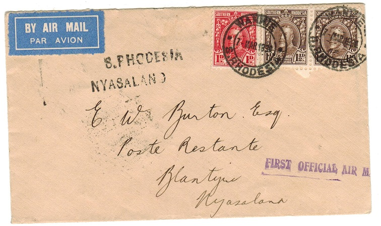 SOUTHERN RHODESIA - 1934 first flight cover to Nyasaland used at WANKIE.
