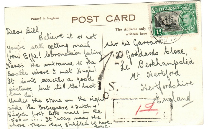 ST.HELENA - 1950 (circa) underpaid postcard to UK with boxed