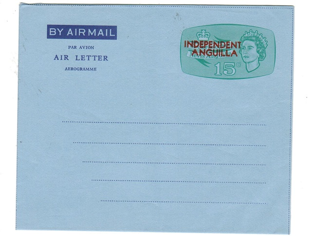 ANGUILLA - 1967 15c pale green postal stationery aerogramme unused.  H&G FG2.