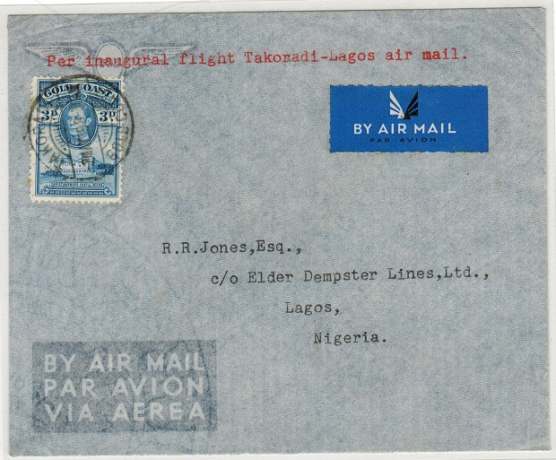 GOLD COAST - 1939 first flight cover from TAKORADI.