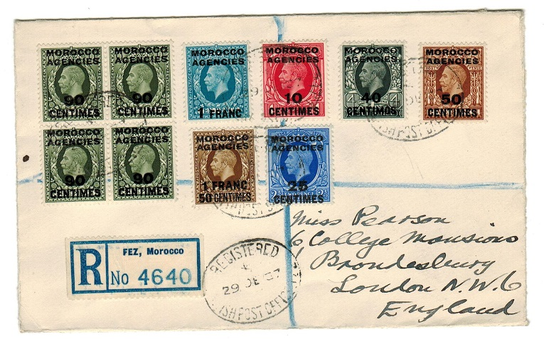 MOROCCO AGENCIES - 1937 multi franked registered cover to UK used at FEZ.
