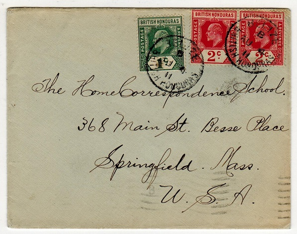 BRITISH HONDURAS - 1911 5c rate cover to USA used at BELIZE.
