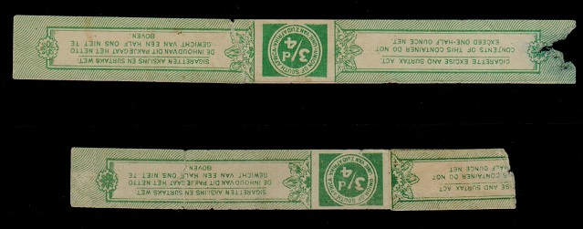 SOUTH AFRICA - 1920 (circa) 3/4d CIGARETTE DUTY strip pair.