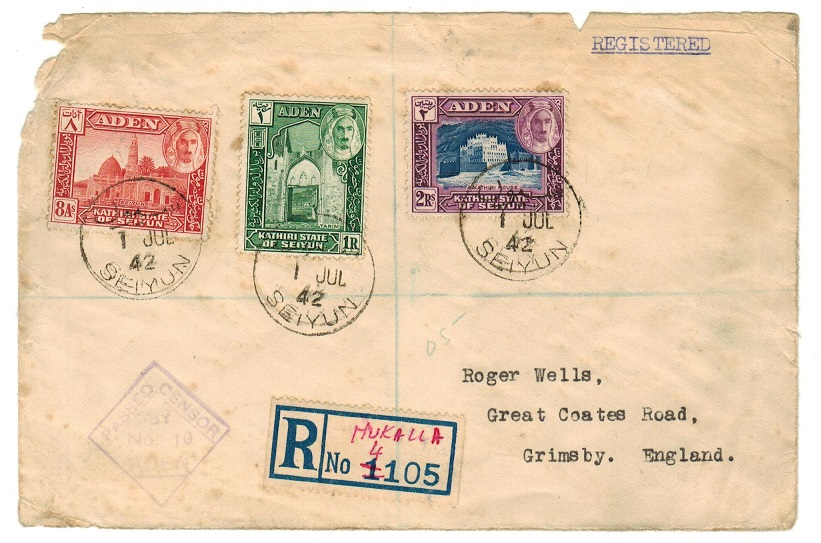 ADEN - 1942 registered censor cover to UK used at SEIYUN.
