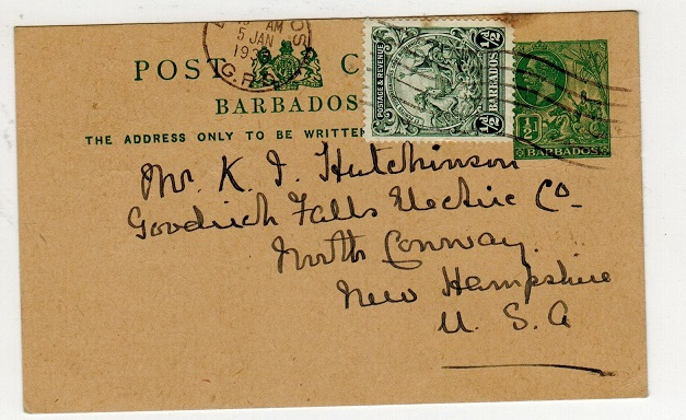 BARBADOS - 1913 1/2d green PSC uprated to USA.  H&G 11b.