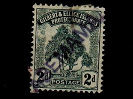 GILBERT AND ELLICE ISLANDS - 1911 2d grey struck by ABEMANA ship h/s.