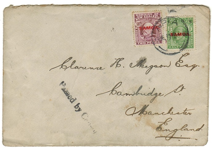 SAMOA - 1918 2 1/2d rate censor cover to UK.