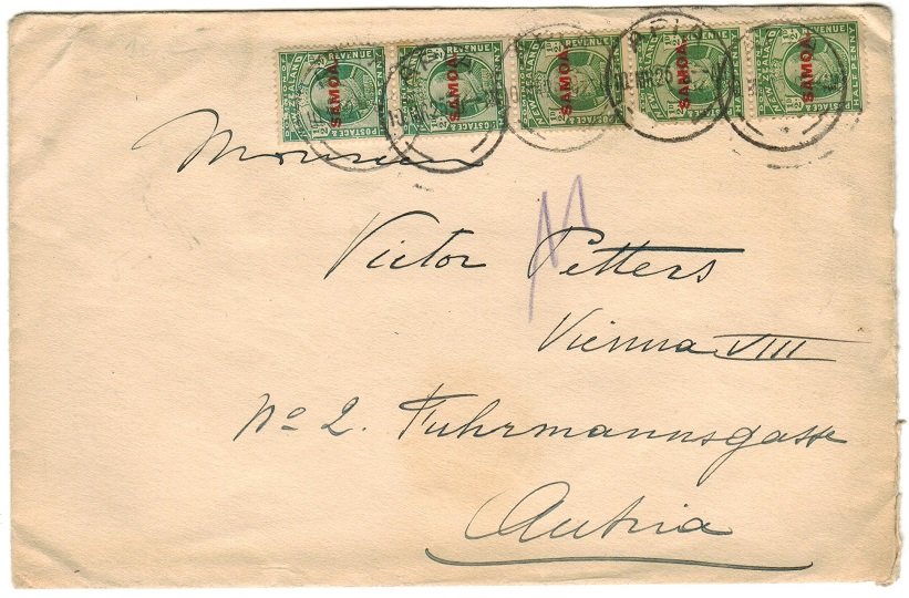 SAMOA - 1920 2 1/2d rate cover to Austria used at APIA.