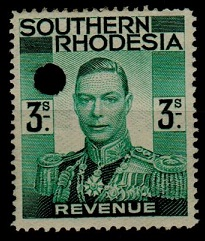 SOUTHERN RHODESIA - 1937 3/- green REVENUE.