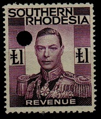 SOUTHERN RHODESIA - 1937 £1 purple REVENUE.