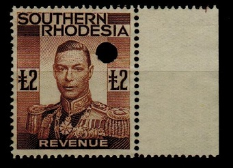 SOUTHERN RHODESIA - 1937 £2 brown REVENUE.