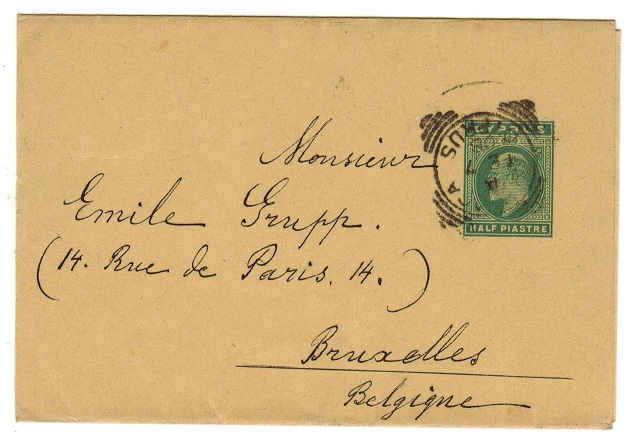 CYPRUS - 1902 1/2p green postal stationery wrapper to Belgium.  H&G 8.