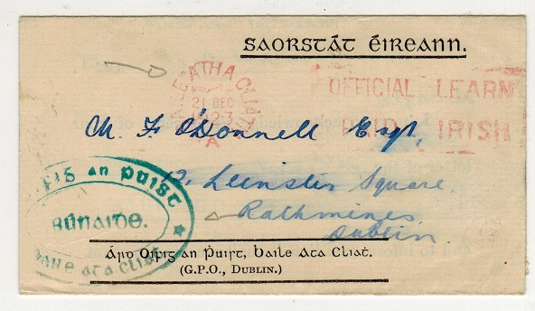 IRELAND - 1923 use of official envelope to Dublin.