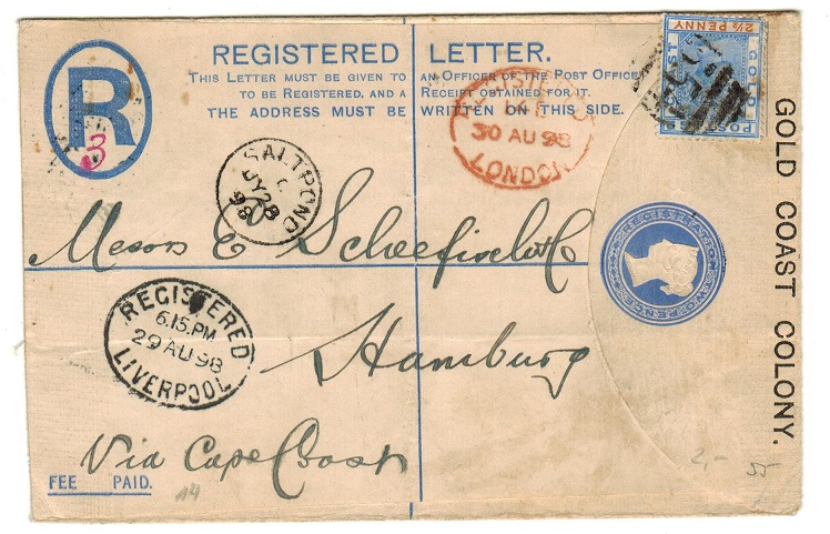GOLD COAST - 1892 2d blue RPSE uprated with 2 1/2d to Germany from SALTPOND. H&G 3a.