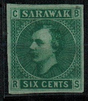 SARAWAK - 1875 6c IMPERFORATE PLATE PROOF in green on pale green.