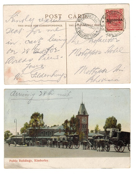 RHODESIA - 1909 1d rate local postcard use from BULAWAYO STATION.