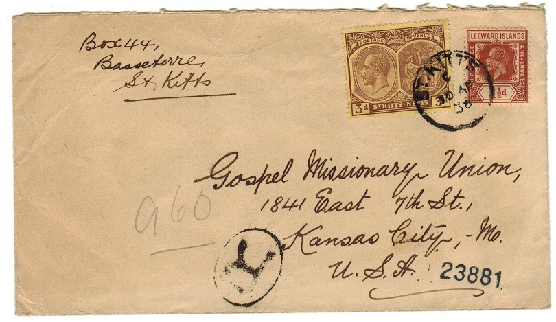 ST.KITTS - 1930 registered 4 1/2d rate combination cover to USA.